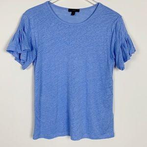 J.Crew Linen Flutter Sleeve T-Shirt sz XS